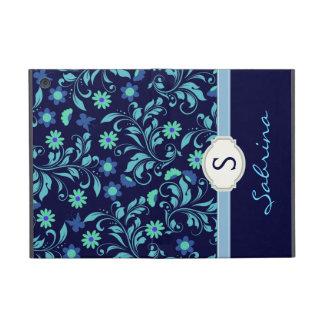Floral Blue Girls Monogram Folio Case For iPad Mini