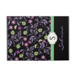 Floral Blue Girls Monogram Folio iPad Mini Case