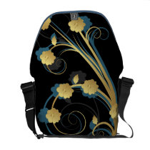 floral blue gold elegance messenger bag
