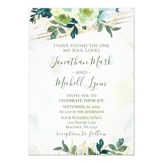 Floral Blue Gold White Turquoise Greenery Wedding Invitation
