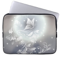Floral Blue Gray Butterfly Animal Computer Sleeve