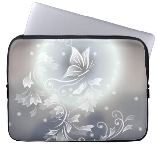 Floral Blue Gray Butterfly Animal Laptop Computer Sleeves
