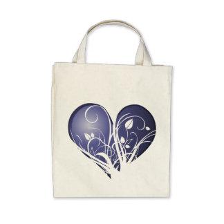 Floral blue heart canvas bag