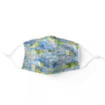 Floral Blue Hydrangea Pattern Adult Cloth Face Mask