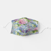 Floral Blue Lavender Hydrangea Pattern Adult Cloth Face Mask