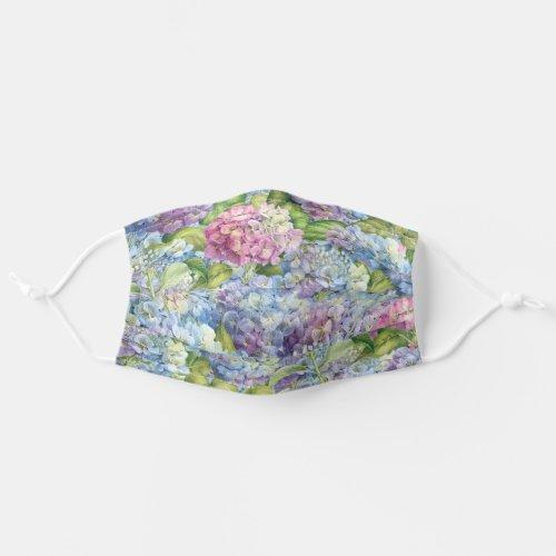 Floral Blue Lavender Hydrangea Pattern Adult Cloth Face Mask