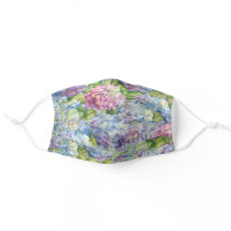 Floral Blue Lavender Hydrangea Pattern Cloth Face Mask