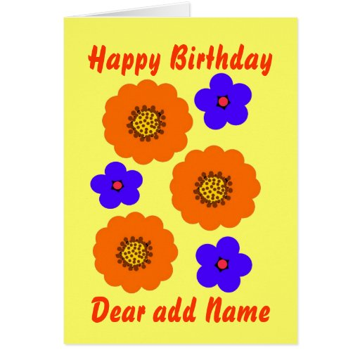 Floral Blue Orange Birthday card, customize Greeting Card