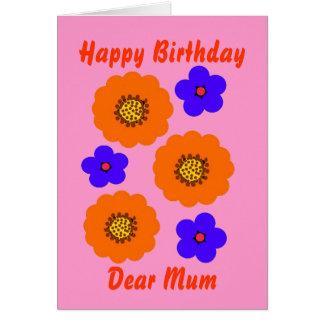 Floral Blue Orange Birthday card, Mum customise