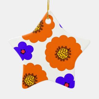 Floral Blue Orange designs Ceramic Ornament