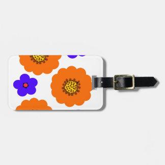 Floral Blue Orange designs Tag For Bags
