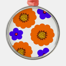 Floral Blue Orange designs Metal Ornament