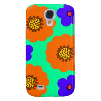 Floral Blue Orange iPhone case designs Galaxy S4 Cover