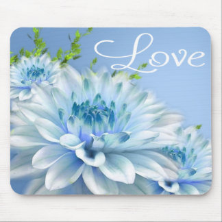 Floral Blue Peony Flower Love Mousepad