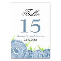 Floral blue Personalized table numbers
