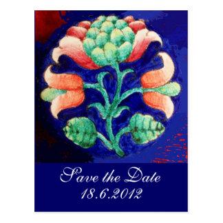 FLORAL , blue pink green Postcard