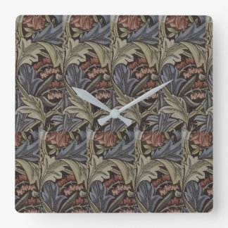 Floral Blue Pink Vintage William Morris Bluebell Square Wall Clock