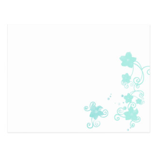 Floral blue postcard