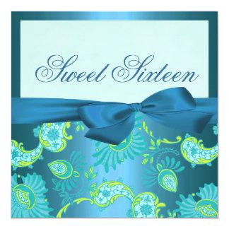 Floral Blue shimmer Birthday Invitation