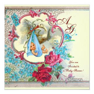 FLORAL BLUE STORK BOY BABY SHOWER PINK ROSES White Card