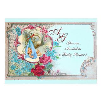 FLORAL BLUE STORK BOY BABY SHOWER ROSES,FLOWERS CARD