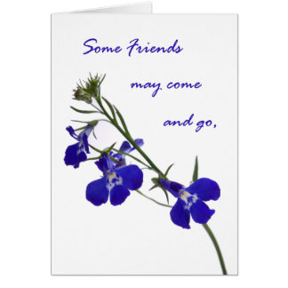Floral Blue-Themed Friendship Card