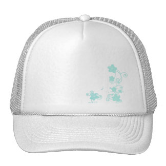 Floral blue trucker hat