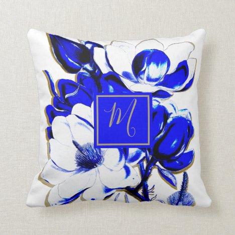 Floral Blue White Spring Pretty Elegant Monogram Throw Pillow