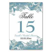 Floral bluePersonalized table numbers Card