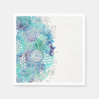 Floral Blues Watercolor Standard Cocktail Napkin