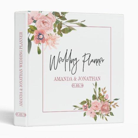 Floral Blush and Rose Gold Wedding Planner 3 Ring Binder