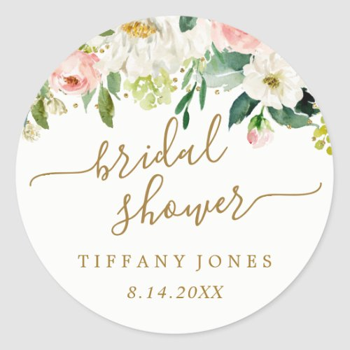 Floral Blush Gold Pink Confetti Bridal Shower Classic Round Sticker