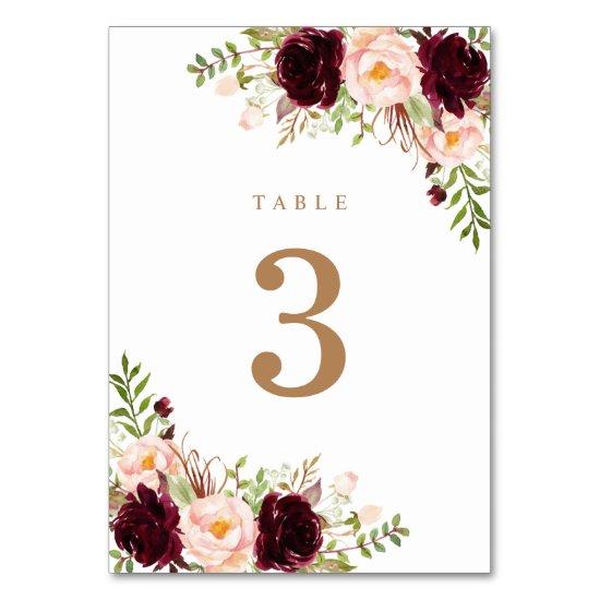 Floral Blush Merlot Burgundy Berry Greenery Modern Table Number