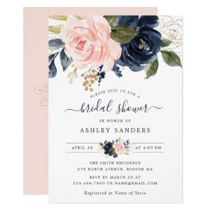 Floral Blush Navy Elegant Bridal Shower Invitation
