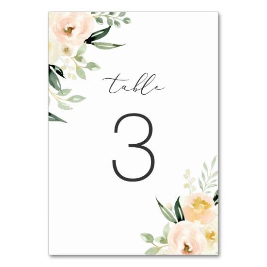 Floral Blush Peach Greenery Modern Table Number