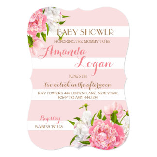 Floral Blush Peonie Baby Shower Invitations