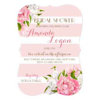 Floral Blush Peonie Bridal Shower Invitations