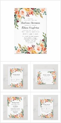 Floral Blush Pink Burgundy Wedding Invitations Set