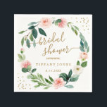 "Floral Blush Pink Gold Confetti Bridal Shower Napkin<br><div class=""desc"">Matching Collection in the Little Bayleigh Store!</div>"