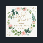 """Floral Blush Pink Gold Confetti Bridal Shower Napkin<br><div class=""""desc"""">Matching Collection in the Little Bayleigh Store!</div>"""