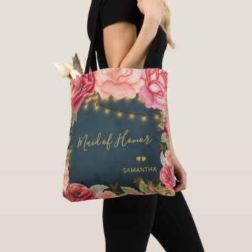 Wedding Themed Floral blush pink gold navy maid oh honor tote bag