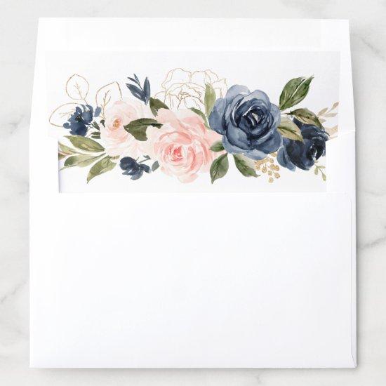 Floral Blush Pink Navy Glitter Gold Elegant Envelope Liner