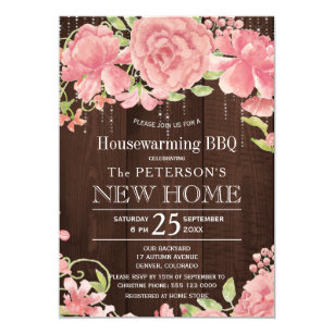 Floral Blush Rose Peonies Rustic Housewarming Bbq Invitation