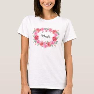 Floral bohemian bride rose wreath T-Shirt