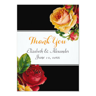 Floral Bohemian Red and Yellow Roses Card
