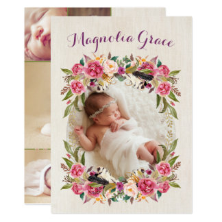 Floral Boho Baby Girl Birth Announcement Cards