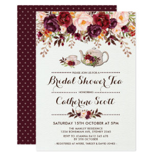 Fl Boho Bridal Shower Tea Party Invitation