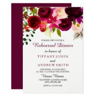 Floral Boho Burgundy Red Wedding Rehearsal Dinner Card