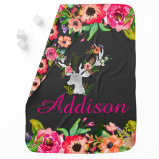 Floral Boho Chic Deer Personalized Baby Blanket