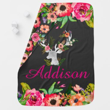 Toddler & Baby themed Floral Boho Chic Deer Personalized Baby Blanket